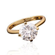 Gold Finished Moissanite Ring