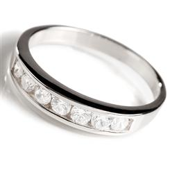 DiamondAura® Sterling Silver Classic Channel Set Ring