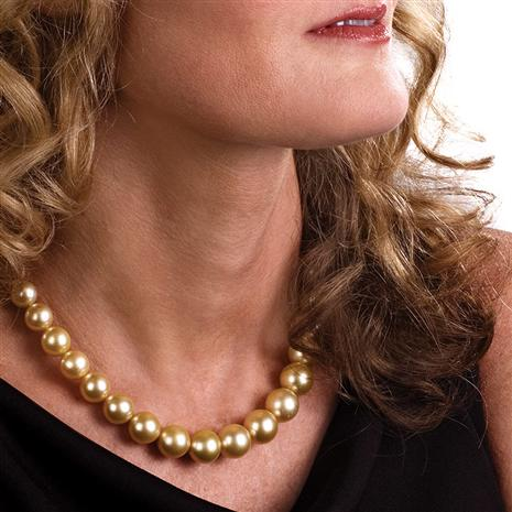 Australian Pacific Genuine Golden South Sea Pearl Necklace