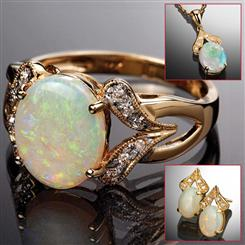 Opal Ring, Necklace & Earrings Set