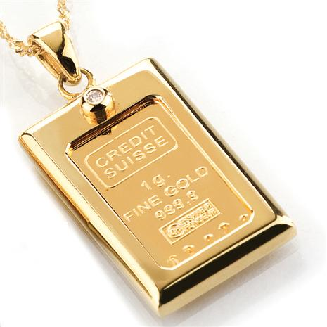1 Gram Gold Ingot & Diamond Necklace