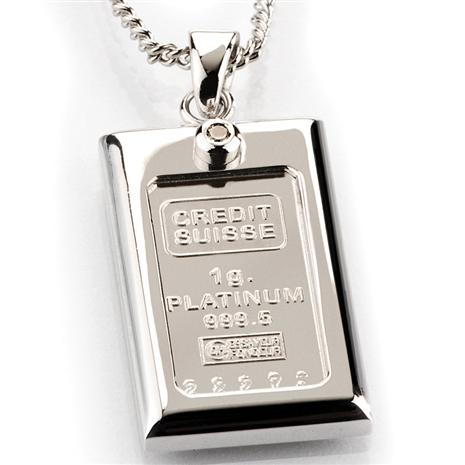 1 Gram Platinum & Diamond Ingot Necklace