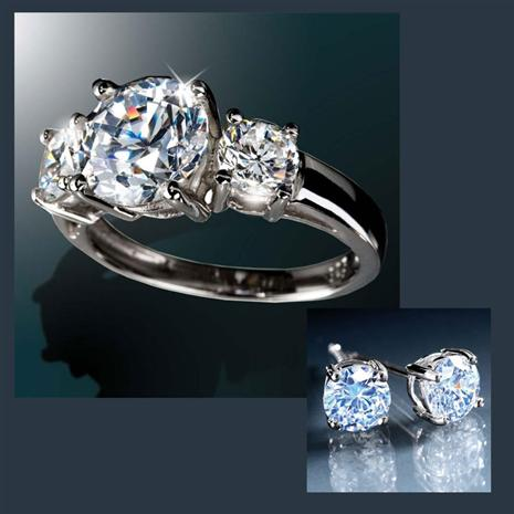 DiamondAura® 3-Stone Classique Ring with FREE Earrings