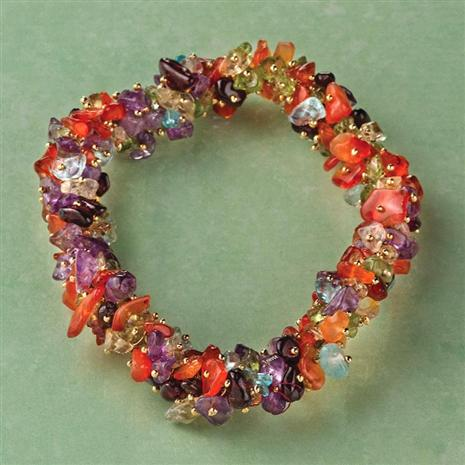 Mixed Gems Torsade Bracelet
