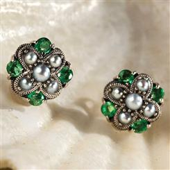 Genuine Emerald & Seed Pearl Earrings