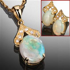 Opal Necklace & Earrings Set