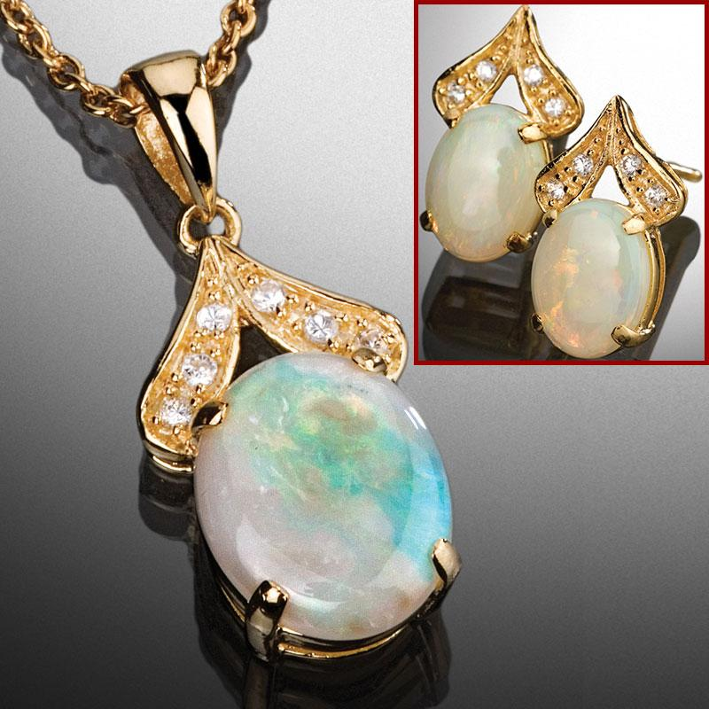 Opal Necklace Earrings Set