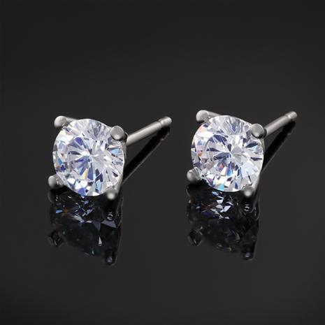 Platinum-finished DiamondAura® Stud Earrings