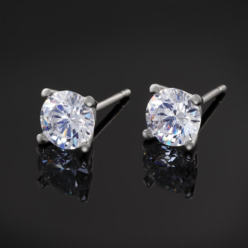 Platinum Finished Diamondaura Stud Earrings