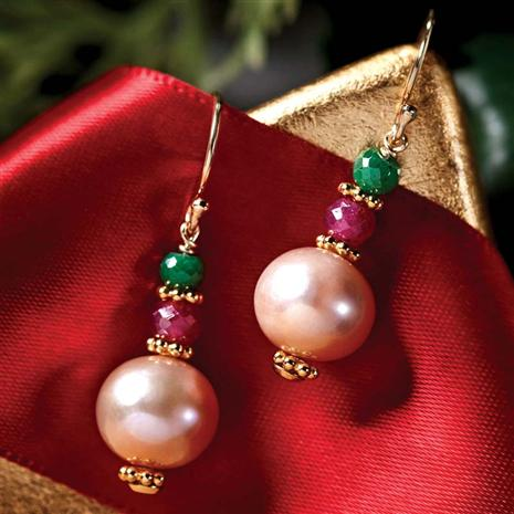 Stauer Emerald Ruby Pearl Earrings