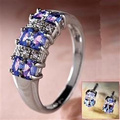 Tanzanite & Diamond Ring & FREE Earrings