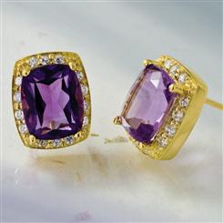 Amethyst & DiamondAura Earrings