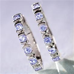 Cluster Tanzanite Hoop Earrings