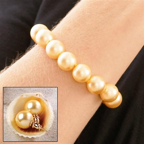 Australian Pacific Golden 12mm Earrings & Bracelet Set