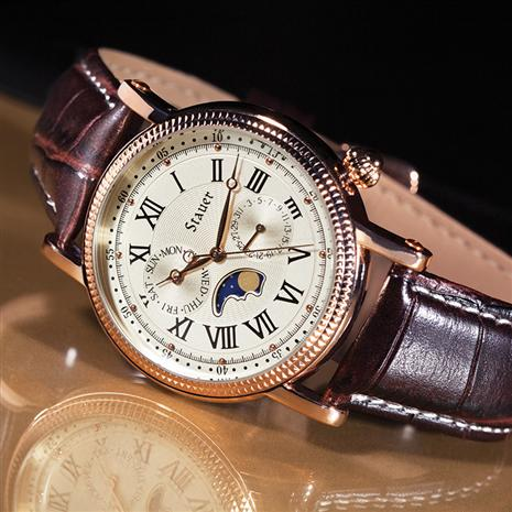 Stauer Rose Gold-Finished Moon Phase Watch