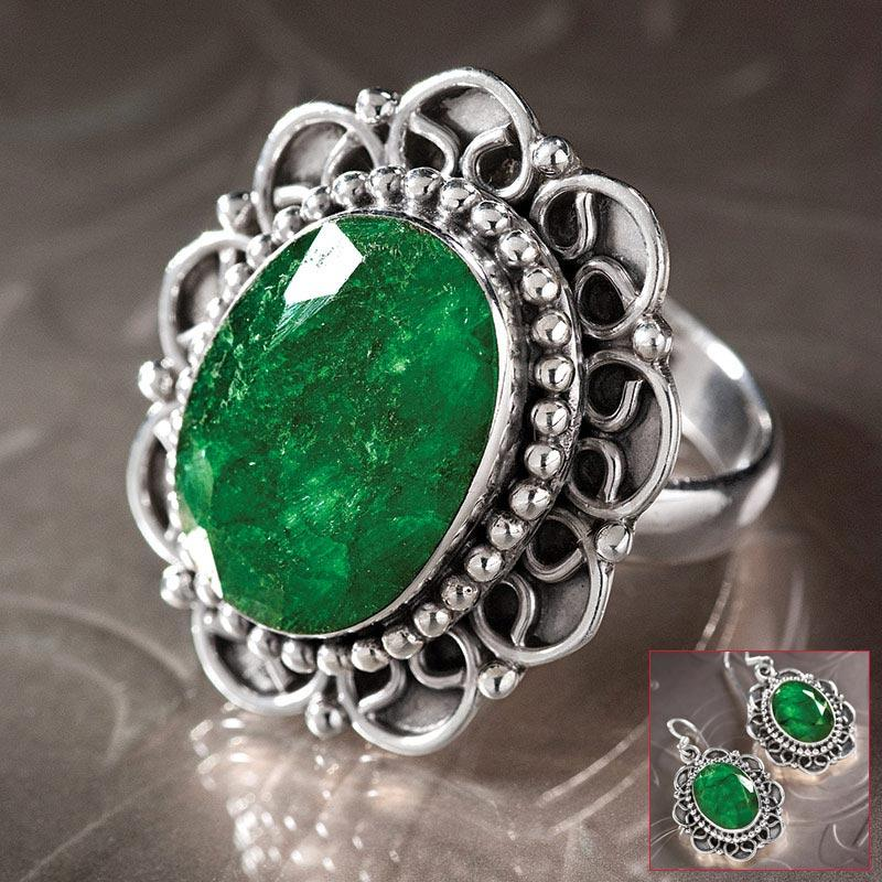 Oval Emerald Ring & Earrings Set