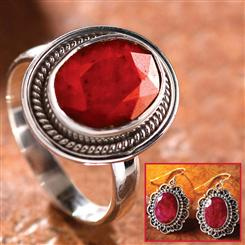 Oval Ruby Ring and Earrings Set