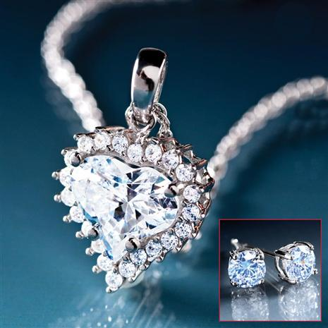 True Heart Pendant Chain Stud Earrings Set