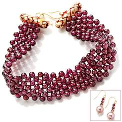 Garnet Garland Earrings & Bracelet Set