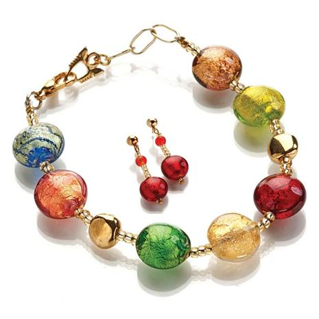 Murano Glass Artisan Bracelet and Earrings Set