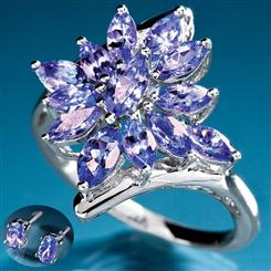 Sunburst Tanzanite Ring & FREE Tanzanite Stud Earrings