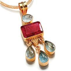 Ruby & Aquamarine Drop Pendant