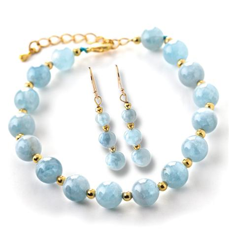 Maré Aquamarine Bracelet & Earrings Set