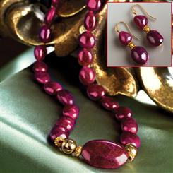 Voros Ruby Necklace & Earrings Set