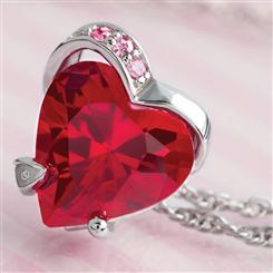 Scienza® Ruby & Diamondaura® Heart Pendant