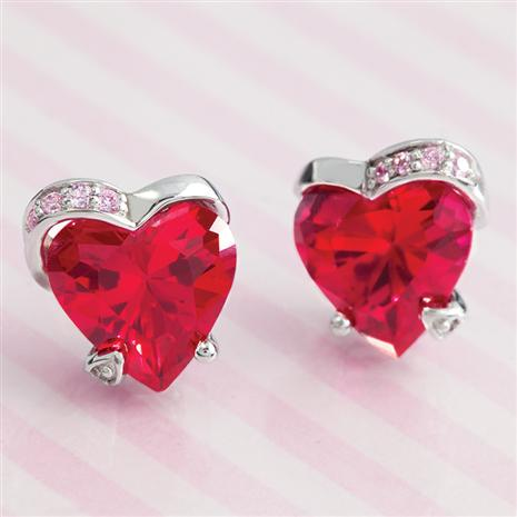 Scienza® Ruby & DiamondAura® Heart Earrings