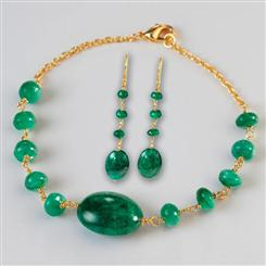 Spring Emerald Bracelet & Earrings Set