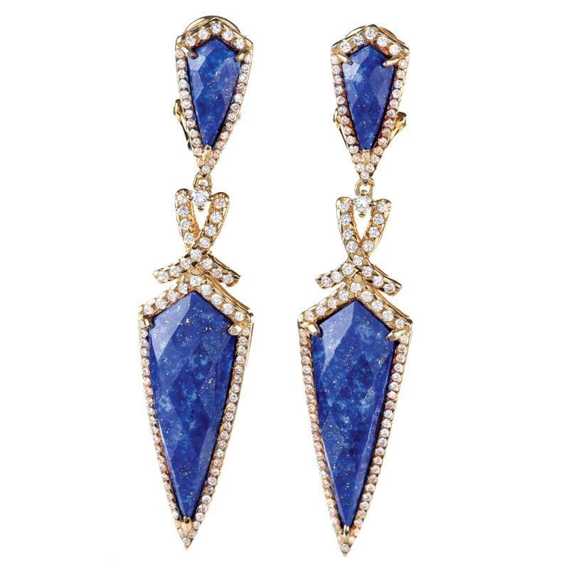 crystal stud drop the earrings lapis healer lazuli tear