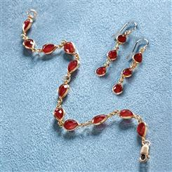 Ruby Drop Earrings and Bracelet
