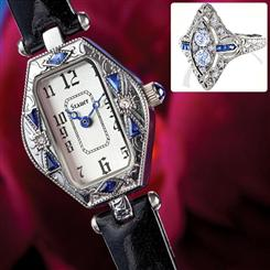 Ciro Art Deco Womens Watch with Spire Sapphire & Diamondaura® Ring