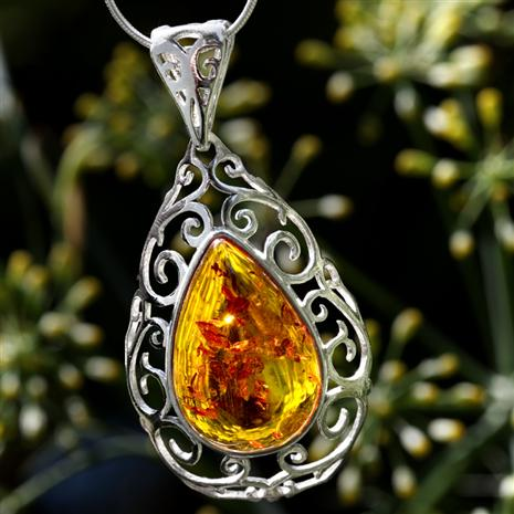 European Golden Amber Necklace