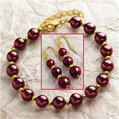 Aphrodisia Garnet Bracelet & Earrings Set