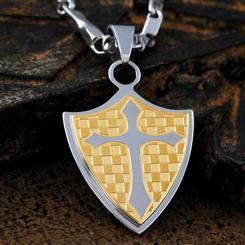 Mens Stainless Steel Chivalry Pendant & Chain