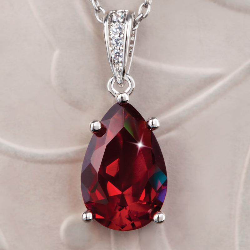 Diamondaura 174 Ruby Red Teardrop Pendant 26124 Stauer Com