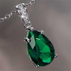 Diamond<em>Aura</em>&reg; Emerald Green Teardrop Pendant