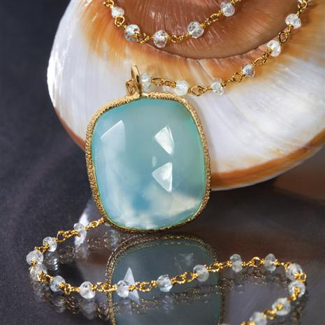Seagrass Chalcedony Pendant & Necklace Set