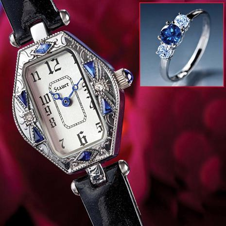 Ciro Art Deco Watch & Sapphire Sterling Silver Ring