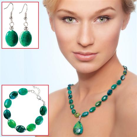 Earth & Sea Chrysocolla Necklace, Bracelet & Earrings Set