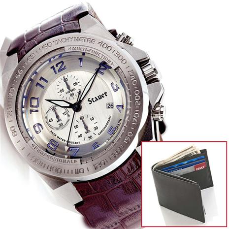 Tauros Chronograph Watch & FREE Joseph Abboud Passcase Wallet