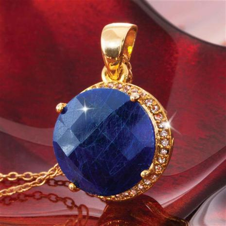 Celestial Gold-finished Sapphire Pendant