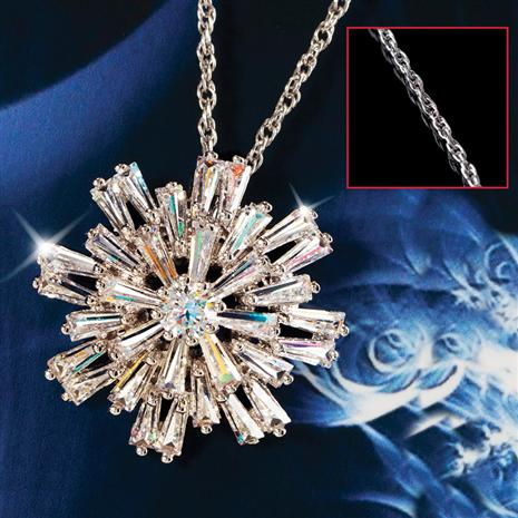 Starry Night Snowflake Pendant and Chain