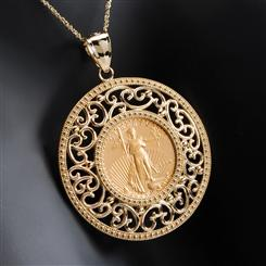 14K American Gold Eagle Coin Necklace