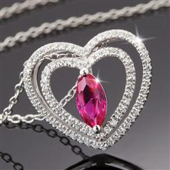 Amoretta Scienza® Ruby Heart Pendant & Chain