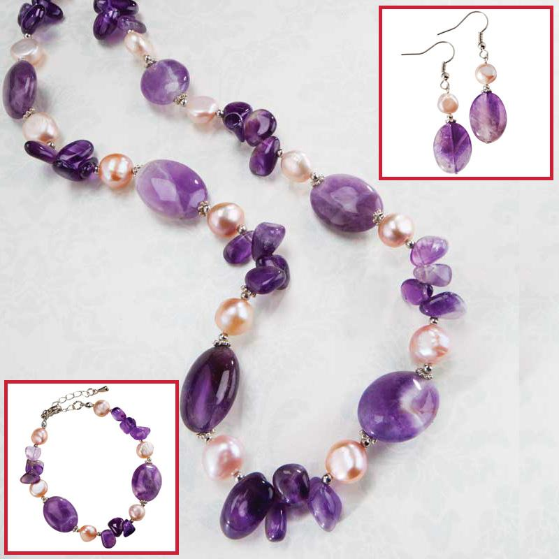 Biscayne Bay Amethyst & Pearl Necklace, Bracelet & Earrings Collection