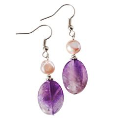 Biscayne Bay Amethyst & Pearl Earrings