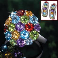 Beaucoup Gemstone Ring & Earrings Set